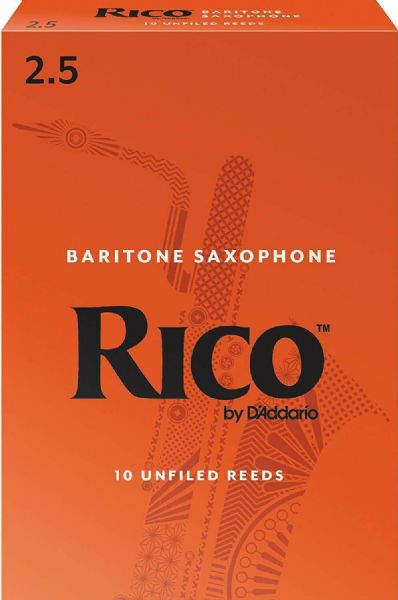 Rico 2.5 Strength Reeds for Baritone Sax (Pack of 10) - RLA1025
